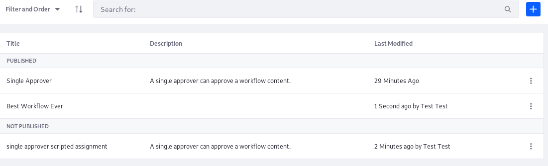Figure 2: View a list of the current workflows that can be edited in the Workflow Designer.