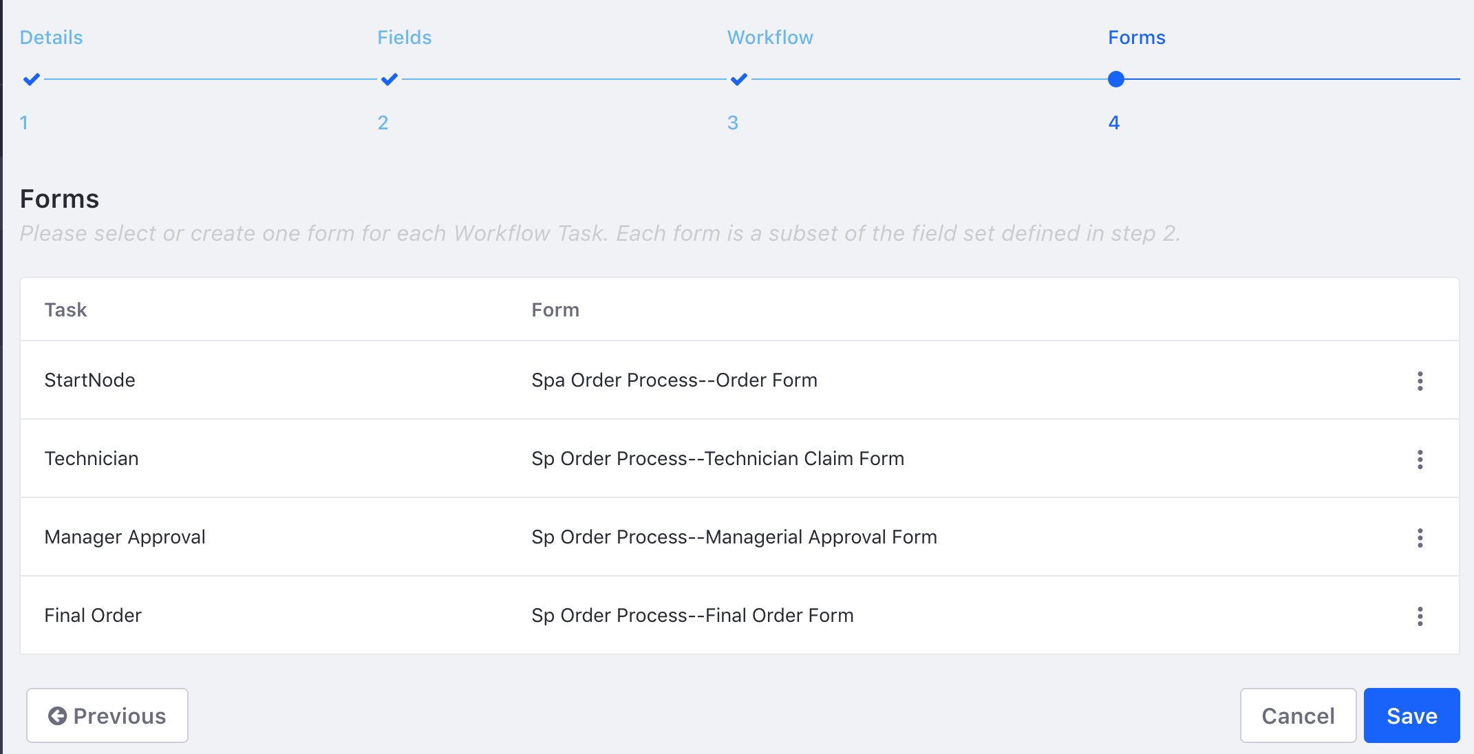 Figure 4: Assign a form to each task in the workflow, and for the initial state.