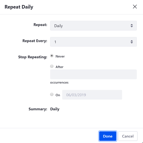Figure 5: The Repeat box allows you to specify whether an events repeats daily, weekly, monthly, or yearly, how often it repeats, and when (or if) it ends.