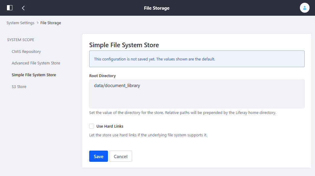 Figure 1: The File Storage page in System Settings lets you configure document repository storage.