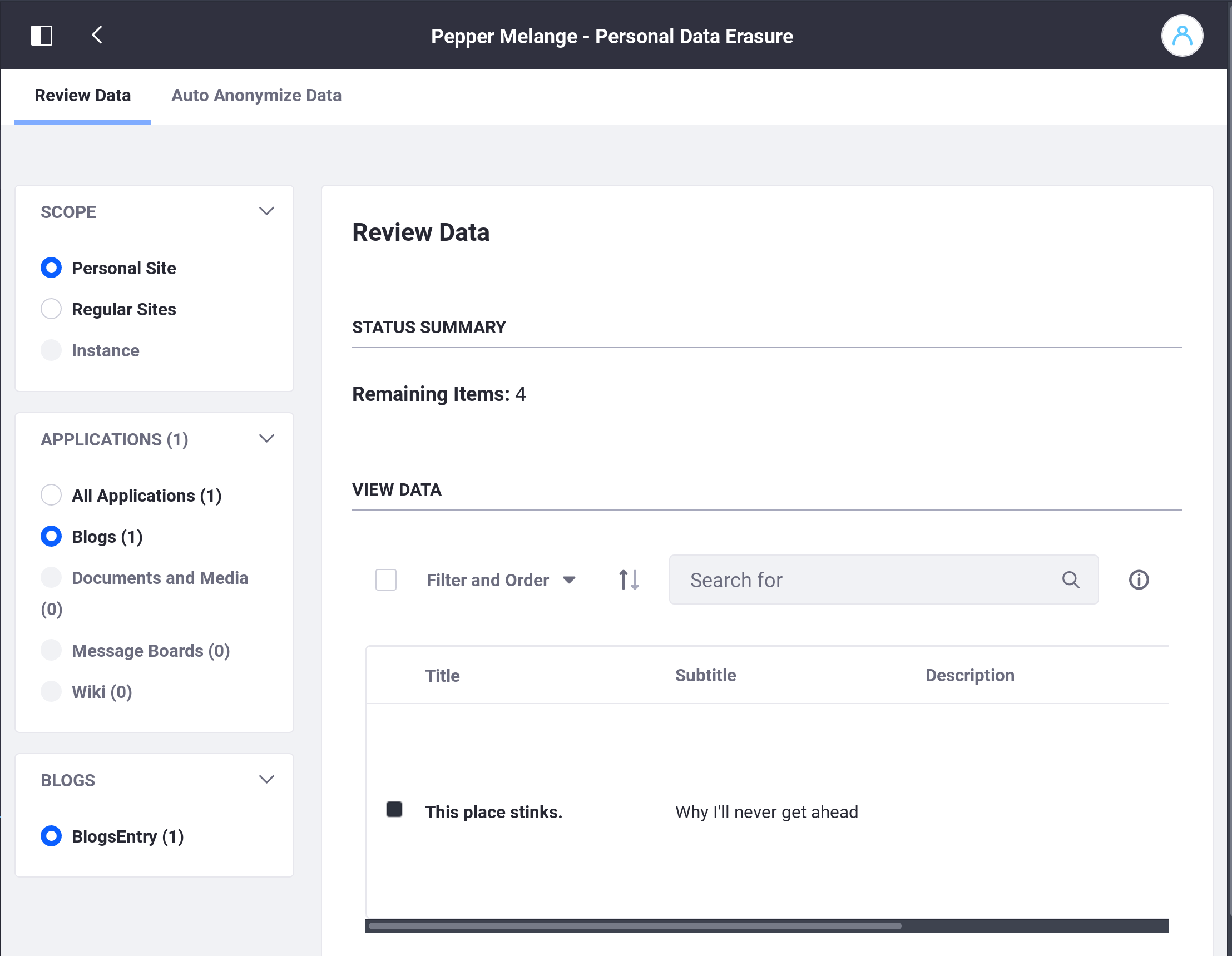 Figure 1: From here, you can browse all data the user posted on his or her personal Site.