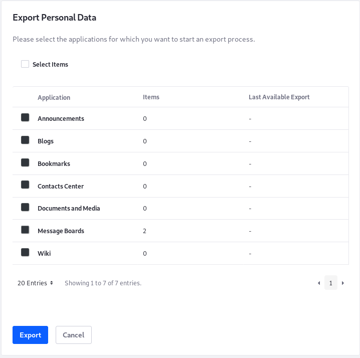 Figure 1: The Export Personal Data tool lets you export all or some of the Users data.