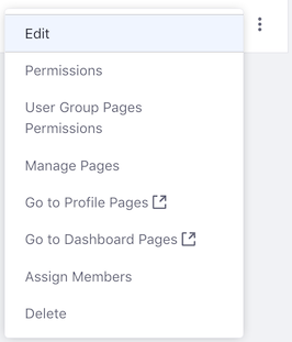 Figure 3: The Actions menu for a user group.