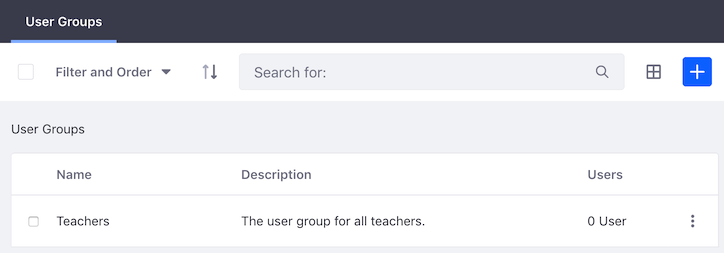 Figure 1: The user groups appear in a table.
