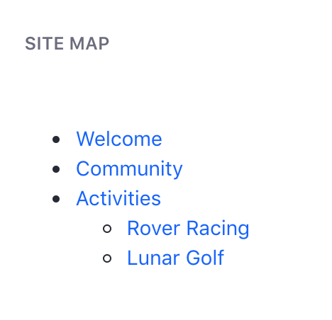 Figure 2: The Site Map application lets users navigate among pages of a Site organized hierarchically.
