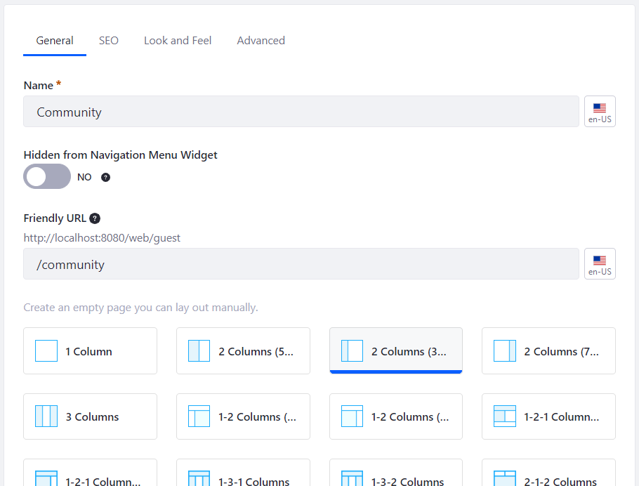 Figure 1: Create a page called Community with two columns.