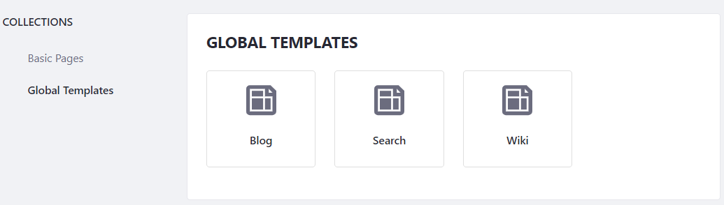 Figure 1: The Blog page template is already available for use along with the Search and Wiki page templates.