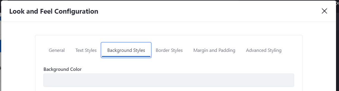 Figure 3: The Background Styles tab lets you specify the widgets background color.