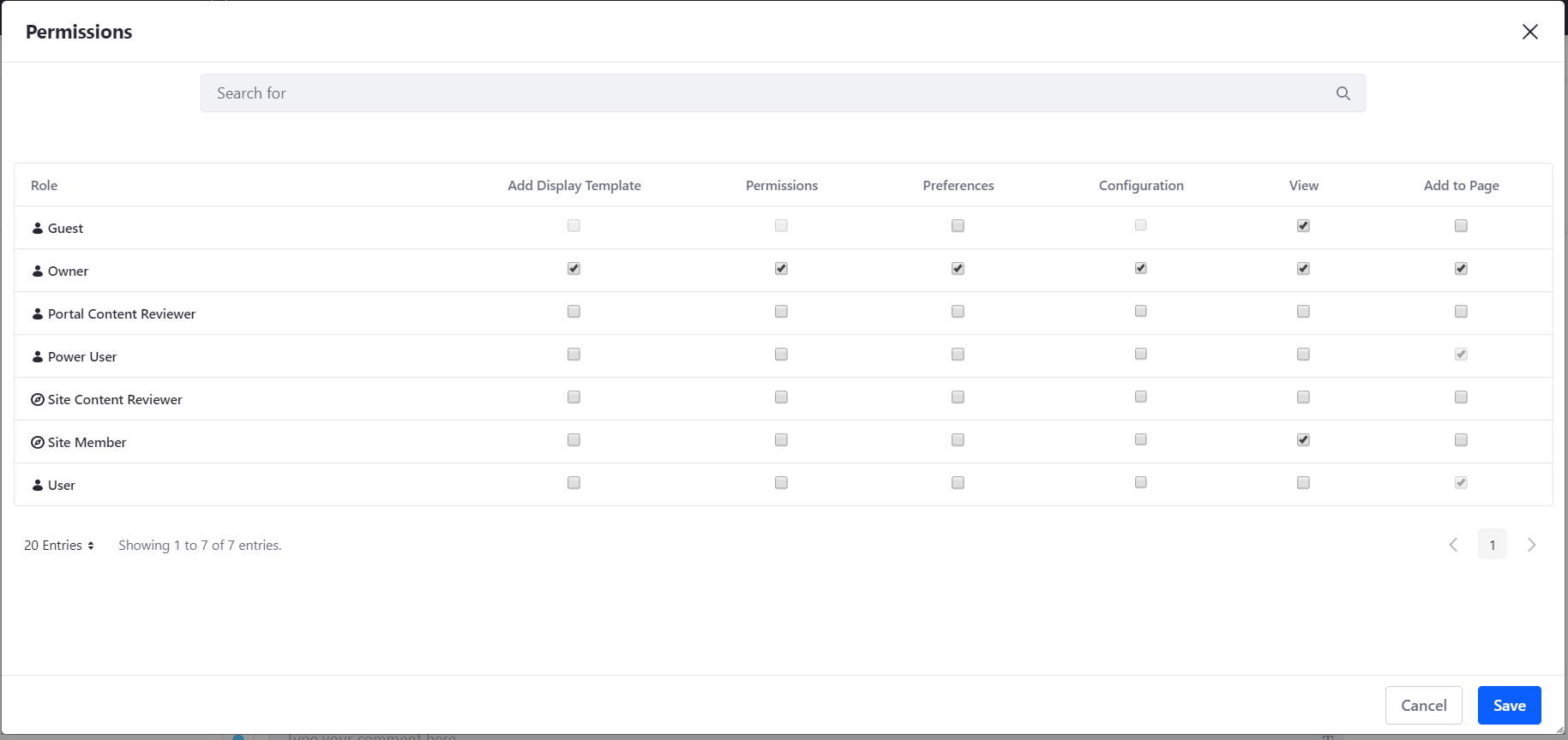 Figure 1: Viewing the permissions configuration for a widget.