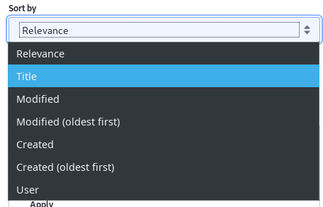 Figure 1: Users can re-order search results with the Sort widget.