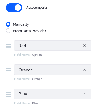 Figure 1: You can configure a manual data provider to specify the options users can select from.