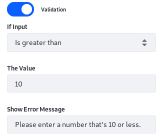 Figure 5: Numeric conditions constrain user-entered numeric data.