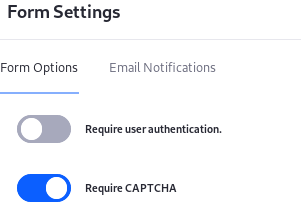 Figure 1: You can enable CAPTCHA for your form in the Form Settings window.