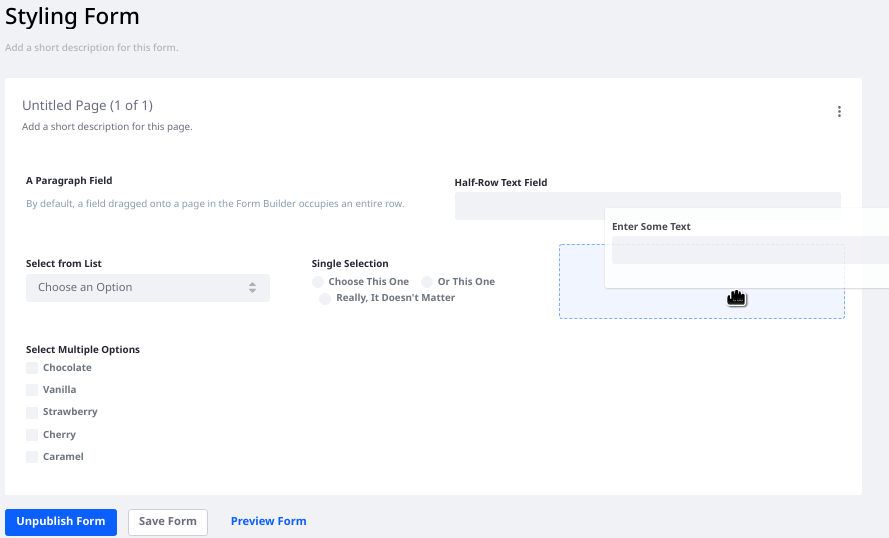 Figure 7: You can also move fields on form pages.