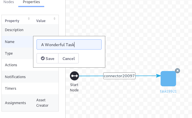 Figure 4: You can edit a nodes settings.