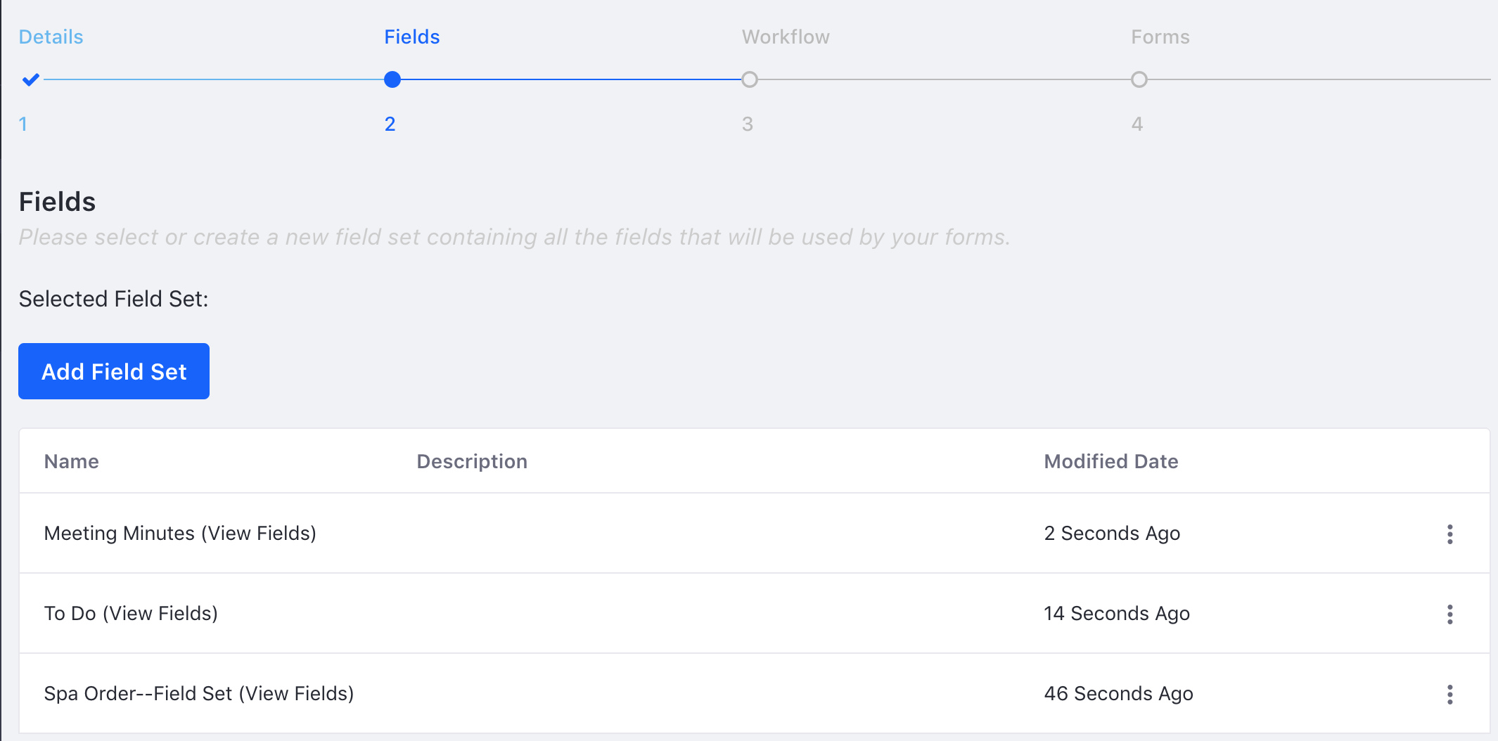 Figure 2: Define and choose your forms fields.