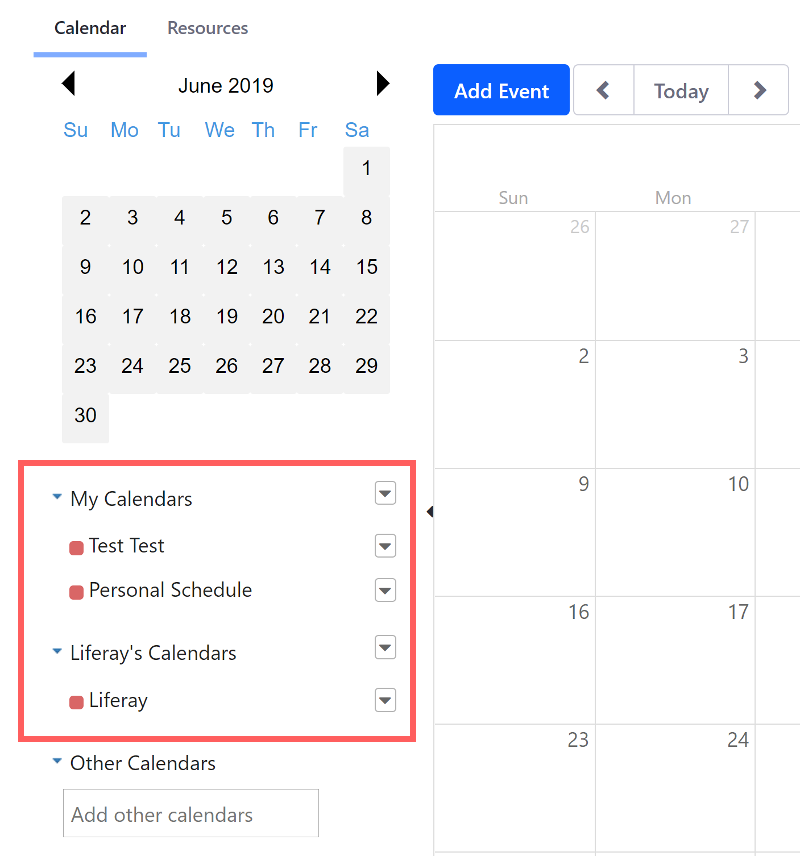 Figure 2: Personal and Site calendars are shown in the lower left. This image shows calendars belonging to User Test Test and Site Liferay DXP.