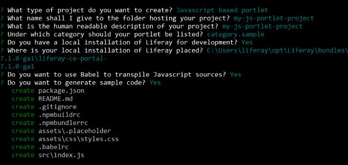 Figure 1: The liferay-js generator prompts you for widget options.