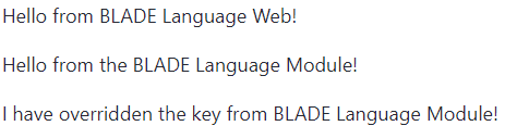 Figure 2: The Language Web portlet displays three phrases, two of which are shared from a different module.
