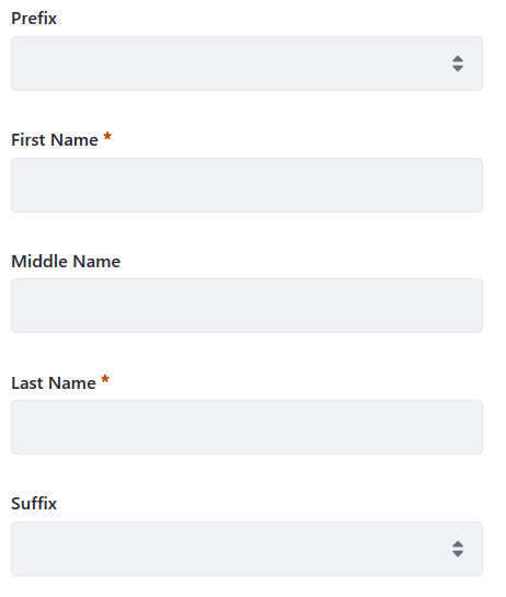 Figure 1: The user name settings impact the appearance of user information and forms.