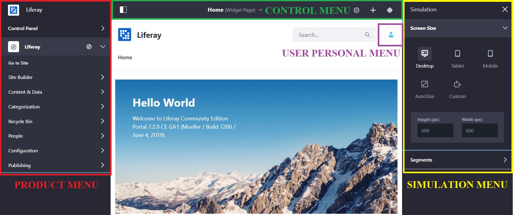 Figure 1: The main product navigation menus include the Product Menu, Control Menu, Simulation Menu and User Personal Menu.