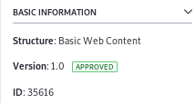 Figure 2: The Web Content Article ID is displayed in the edit screen.