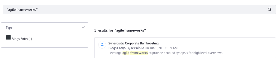 Figure 3: Search for exact phrase matches by enclosing search terms in quotes. If a user searched for agile frameworks, this result would not be returned.