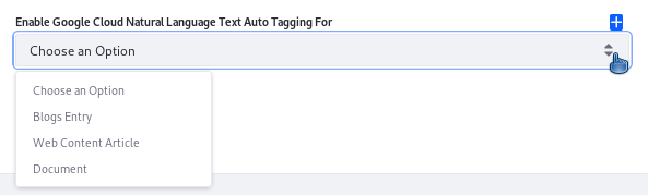 Figure 1: The select list in the Google Cloud Natural Language Text Auto Tagging entry is populated programmatically, using the ConfigurationFieldOptionsProvider.