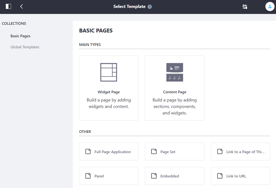 Figure 3: You must select a page type when adding pages.