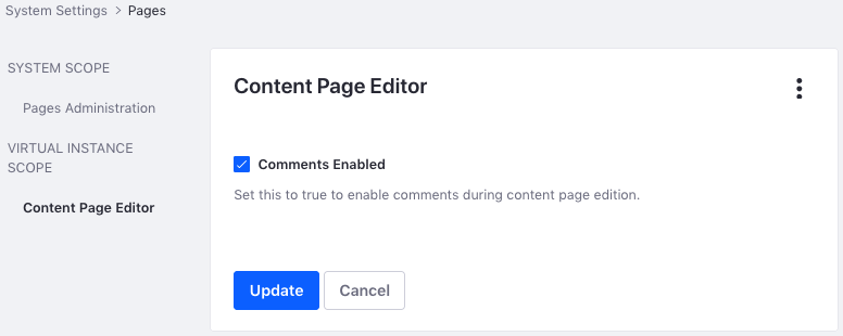 Figure 7: Administrators can enable comments for content pages.