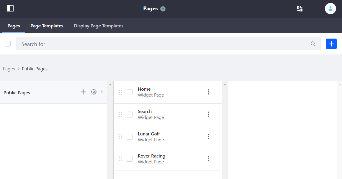 Figure 1: The Pages screen lets you edit your Site pages as a whole.