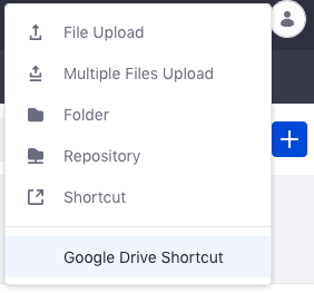 Figure 2: Select New Google Drive Shortcut from the Add menu in your Document Library.