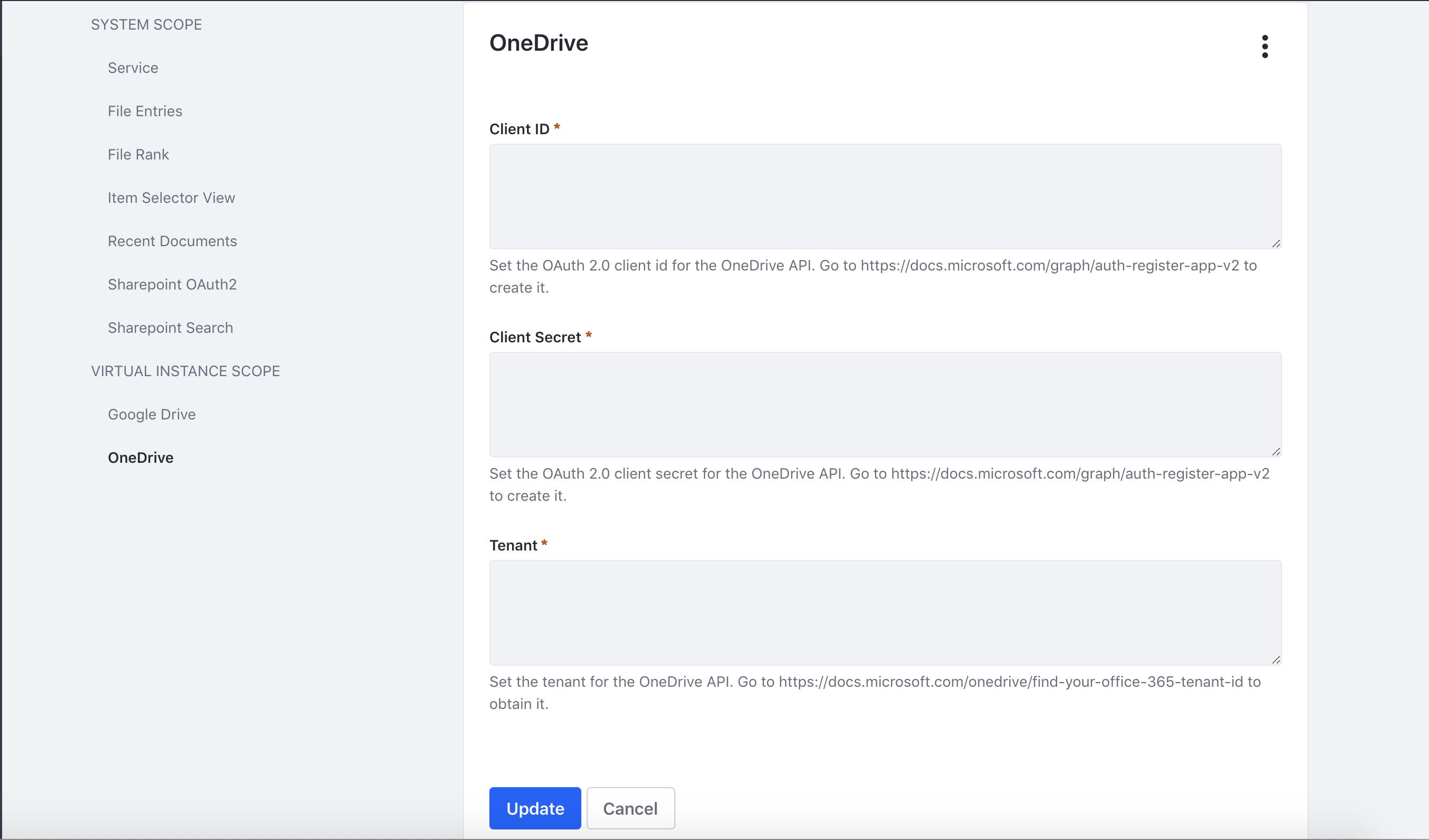 Figure 1: Enter your applications client ID, client secret, and tenant.