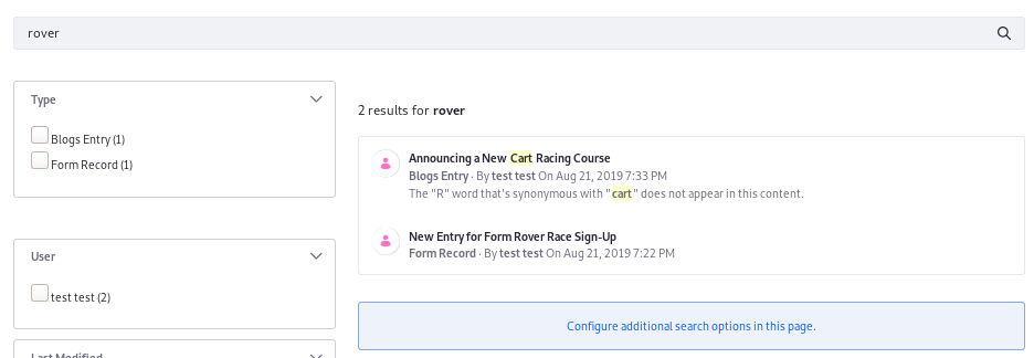 Figure 3: The Blogs Entry does not contain the word rover but it can be matched because of a synonym set mapping cart as its synonym. The synonym is even highlighted.