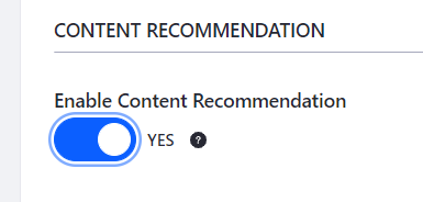 Figure 2: Enable Content Recommendation for your Content Set.