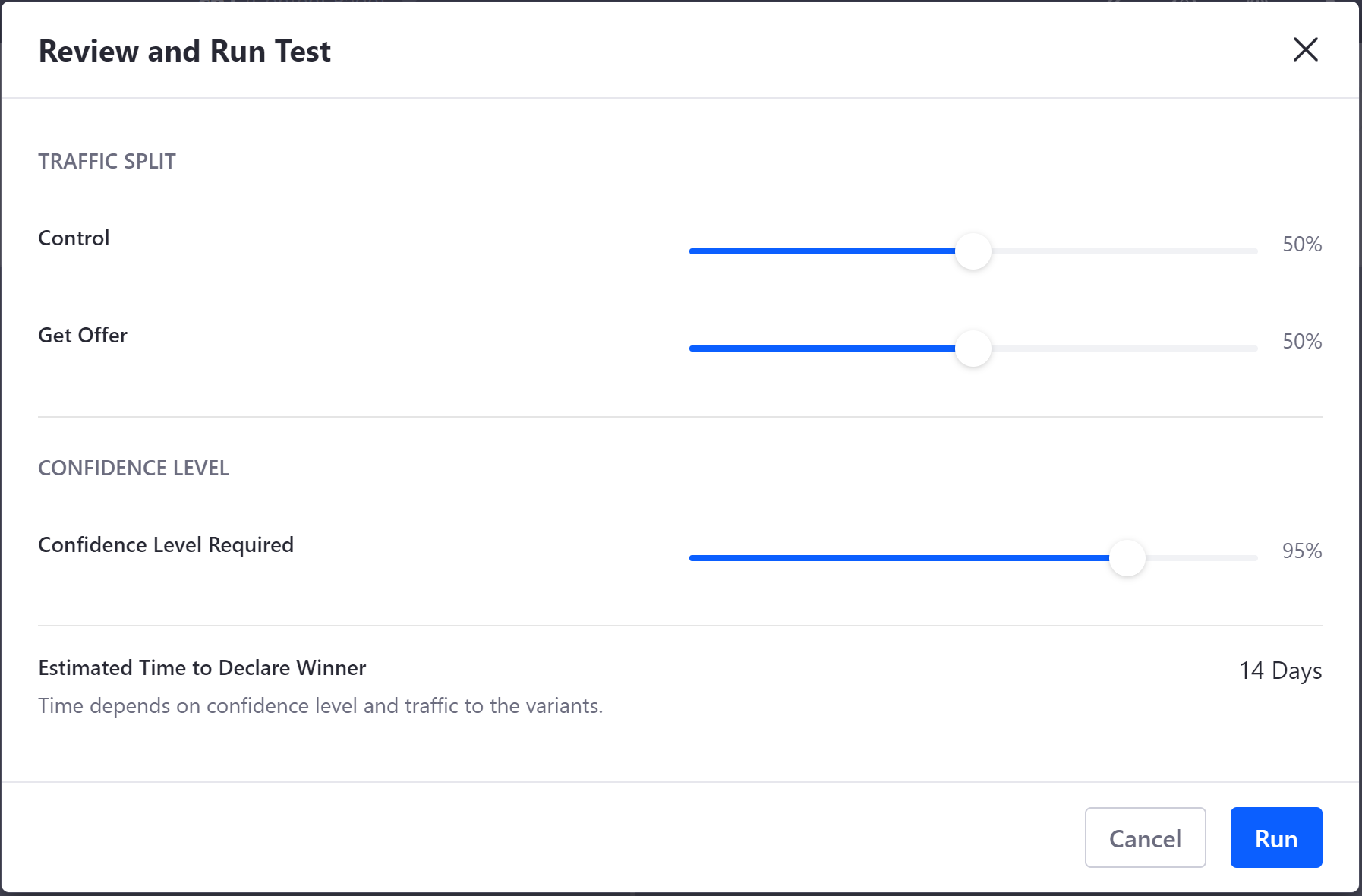 Figure 1: Configure the final parameters of your A/B test before running it.