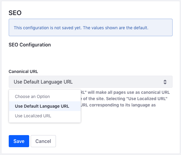 Figure 3: You can also configure canonical URLs at the global and instance levels.