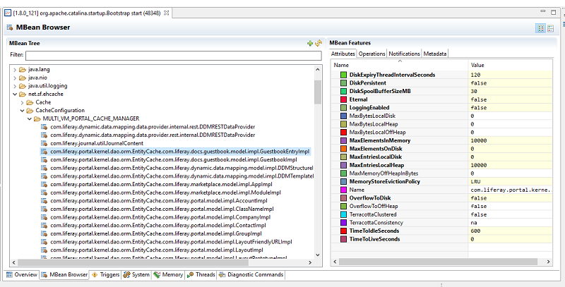 Figure 1: Caches configured in Liferay DXP can be examined using JMX tools such as Zulu Mission Control  \(Portal Process → MBean server  → MBean Browser\)