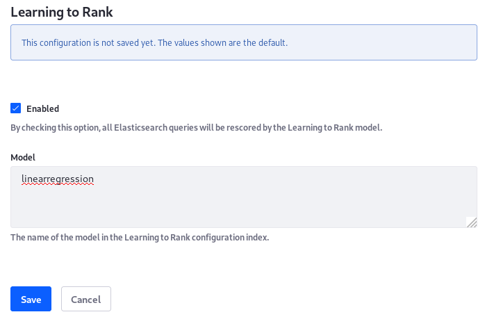 Figure 1: Enable Learning to Rank in Liferay DXP from the System Settings entry.