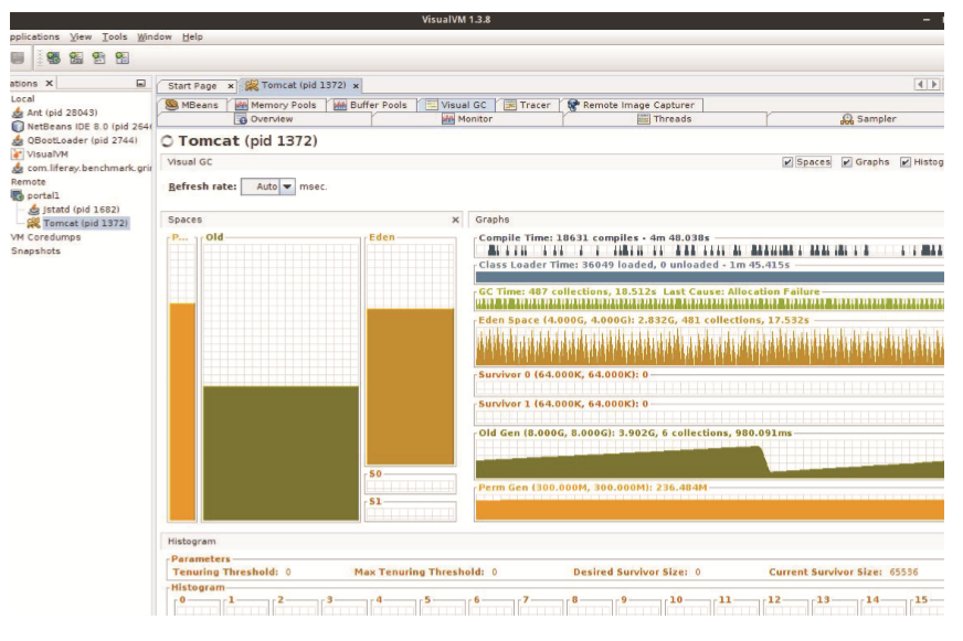 Figure 1: VisualVMs Visual GC plugin shows the garbage collector in real-time.