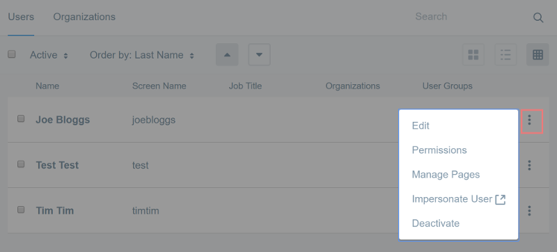 Figure 4: Open the Actions menu next to a listed user to update its configuration.
