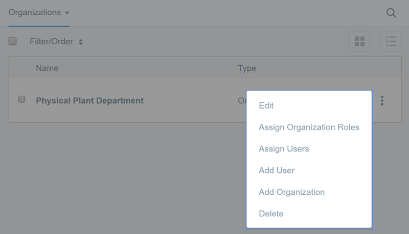 Figure 4: Open the Actions menu next to an organization to update its configuration.