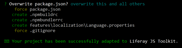 Figure 2: You can run the adapt subtarget of the Liferay JS Generator to adapt your existing apps for Liferay.
