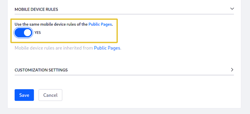Figure 1: Disable using public pages device rules.