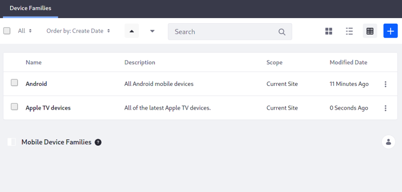 Figure 3: You can select a mobile device family to apply for a Site or page.