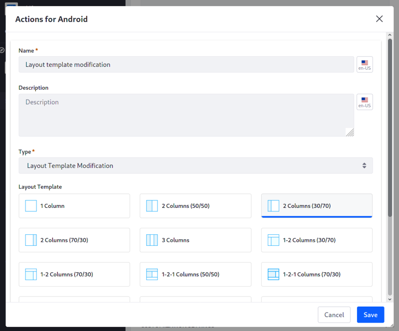 Figure 4: Create the Actions for Android.