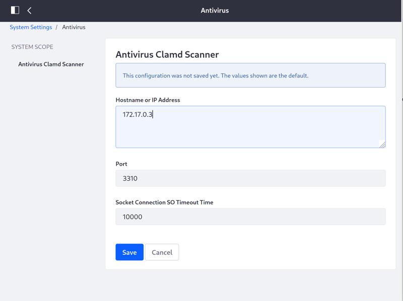 Antivirus Clamd Scanner configuration